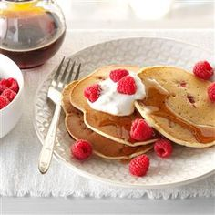 Lemon-Raspberry Ricotta Pancakes Recipe -I was raised in a home where ...