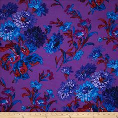 Kaffe Fassett Anne Marie Purple from @fabricdotcom  Designed by Philip Jacobs for Westminster, this cotton print fabric is perfect for quilting, apparel and home decor accents. Colors include black, shades of purple, shades of blue, and shades of red.