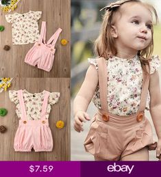 7a0f396a6 US 2PCS Toddler Kids Baby Girl Summer Clothes Floral Tops+Belt Shorts  Outfits