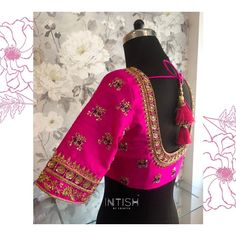 """Intish by Chintya ™️ on Instagram: """"Hot pink for the win! Bespoke blouse with gold and contrast thread embroidery 💝 . . . #necklineembroiderydesign #uniqueblousedesigns…"""" Alexander Mcqueen Scarf, Bespoke, Embroidery Designs, Hot Pink, Contrast, Kimono Top, Neckline, Blouse, Gold"""