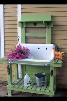 Potting bench great idea using an old antique sink