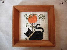 Finished and Framed Cross Stitch Cat and Pumpkin  by Rocknrobin, $18.00