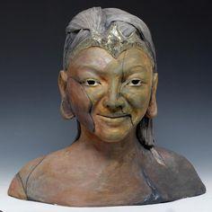Kwan Yin Sculpture Bust in Raku Elegance by GoldenWindRaku on Etsy