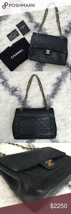"""Vintage Chanel double-flap bag This beautiful, beautiful lambskin bag is a total classic! The inside is in impeccable condition and the outside looks good as well (slight wear on some edges as shown in photos; not noticeable at all while being carried). It has been recently authenticated with serial number 1460420. Strap can be worn doubled or as a long single chain. Measures 9 3/4"""" x 8"""" x 3"""". NO TRADES. Open to all reasonable offers! CHANEL Bags"""