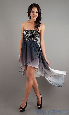 High Low Strapless Ombre Dress
