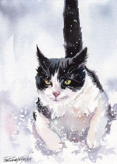 TUXEDO CAT KITTY BLACK AND WHITE GICLEE PRINT OF ORIGINAL WATERCOLOR PAINTING