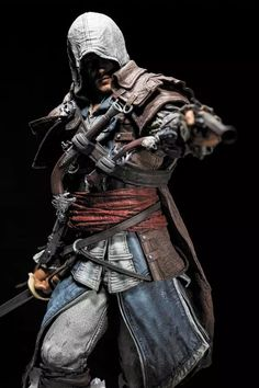 Assassin's Creed Black, Assassins Creed Black Flag, Edwards Kenway, Toy People, Fantasy Warrior, Dark Fantasy, Concept Art, Statue, Miniatures