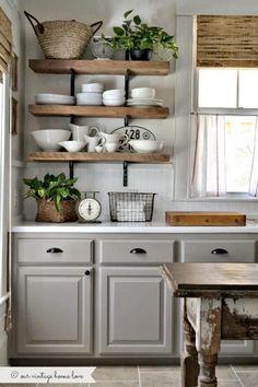 New kitchen paint cabinets grey farmhouse sinks ideas Farmhouse Kitchen Cabinets, Painting Kitchen Cabinets, Kitchen Paint, Kitchen Shelves, Rustic Kitchen, New Kitchen, Kitchen Decor, Kitchen Ideas, Kitchen Inspiration