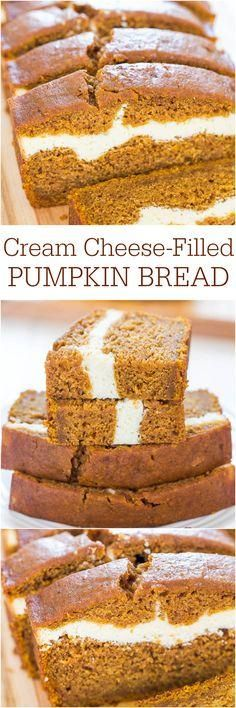 Pumpkin Bread - Pumpkin bread that's like having cheesecake baked in! Soft, fluffy, easy and tastes ahhhh-mazing!Cream Cheese-Filled Pumpkin Bread - Pumpkin bread that's like having cheesecake baked in! Soft, fluffy, easy and tastes ahhhh-mazing! Fall Desserts, Just Desserts, Delicious Desserts, Dessert Recipes, Yummy Food, Dessert Bread, Cheese Dessert, Fall Baking, Holiday Baking