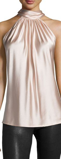 Paige Halter-Neck Top, Blush by Ramy Brook at Neiman Marcus.Silky satin fabric elevates the look of this stylish tank top. Our Super soft Stretch-Silky satin Halter Blouse is comfortable and stylish, this luminous shirred top, finished with a high ne Look Fashion, Autumn Fashion, Blouse Sexy, 2015 Fashion Trends, Satin Blouses, Halter Neck, Halter Tops, Sleeveless Tops, Silk Top