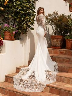 Moonlight Collection illusion bateau back bridal gown with elegant see through lace train dresses mermaid long train Long Sleeve Crepe Mermaid Wedding Dress Moonlight Collection Crepe Wedding Dress, Lace Wedding Dress With Sleeves, Lace Mermaid Wedding Dress, Long Sleeve Wedding, Long Wedding Dresses, Elegant Wedding Dress, Mermaid Dresses, Bridal Dresses, Lace Sleeves