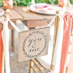 Define your sweetheart table with a sweet sign on the back of your chair. 💕 What will yours say? #theknot 📷: @amalieorrangephotography    #Regram via @theknot