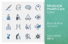 Medical Specialties Icons - Set 2 by introwiz1 on Creative Market