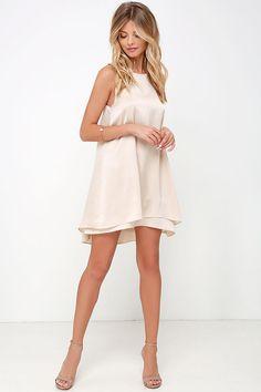 Moonlit Masquerade Beige Swing Dress at Lulus.com! - winter formal