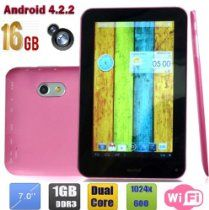 WolVol offer WolVol LATEST Touch Screen 7 inch 16 GB Android 4.2 Internet Tablet, with installed Apps/Games (Works with WIFI, supports Netflix, Dual Camera, Dual Core, 1 GB RAM) - PINK. This awesome product currently limited units, you can buy it now for $169.94 $109.94, You save $60 New