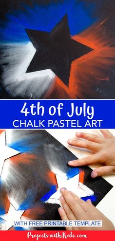 Create this bright and bold of July chalk pastel art with only a few simple supplies! Kids of all ages will love using chalk pastels to make this super easy patriotic craft. Patriotic Crafts, July Crafts, Summer Crafts, Easy Art Projects, Craft Projects For Kids, Craft Kids, Craft Art, Chalk Pastel Art, Chalk Pastels