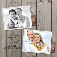 lovz   uitnodiging 40 jaar getrouwd foto, hout en linnen