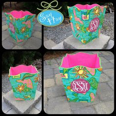 Will do any print.interesting way to make a wastebasket pretty.Hand-painted Monogram Wastebasket inspired by Lilly Pulitzer or other print Lilly Pulitzer Prints, Lily Pulitzer, Painted Monogram, Hand Painted, Diy And Crafts, Arts And Crafts, Pretty Hands, Dorm Ideas, My New Room