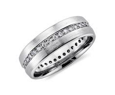 Brushed Diamond Eternity Men's Wedding Ring in 14K White Gold #BlueNile