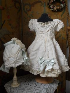 Doll's dress~ French BeBe Pique Dress with Bonnet ~~~ from whendreamscometrue on Ruby Lane