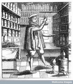 Laboratory and library of an apothecary - physician, showing books on shelves, drug jars, distilling, etc. and the proprietor examining a flask. German engraving, early 17th C.