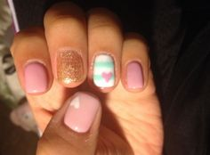 Nude pink, Glittery Gold and mint green and white stripe