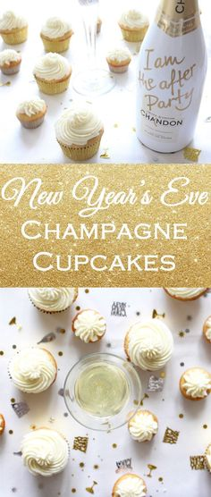 Ring in the new year with champagne cupcakes! Holiday guests will love this boozy dessert while toasting on New Year's Eve. | Cocktail cupcake recipe on If You Give a Blonde a Kitchen #cocktailrecipes
