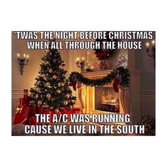 ''Twas the night before Christmas and all through the house, the AC was running because we live in the south. A Florida Christmas Merry Christmas, Christmas Humor, Christmas Time, Funny Christmas Memes, Southern Christmas, Christmas Greetings, Christmas Stuff, Christmas In Florida, Xmas Jokes