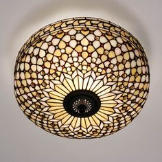 CLASSIC NEUTRAL FLUSH CEILING LIGHT  Classic neutral Tiffany glass design with cream background and glass 'jewels'  H25 cm W45 cm