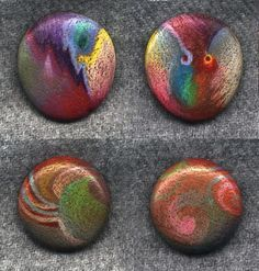 colored pencil on rocks!  (looks like dichroic glass!)  SBG thinks you can spray on waterproof sealer and spot them into strategic places in...