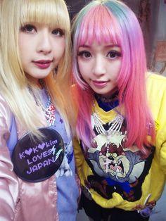 kawaii cute japan japanese dyed hair blonde pink teal aqua pastel fashion harajuku