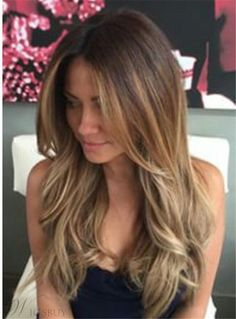#WigsBuy - #WigsBuy Sexy Long Wavy Layered Human Hair Women Lace Front Wig 22 Inches - AdoreWe.com