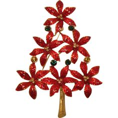 Bright Red and Gold Stacked Poinsettia Flower Christmas Tree Pin --- Vintage jewelry found at www.rubylane.com @rubylanecom