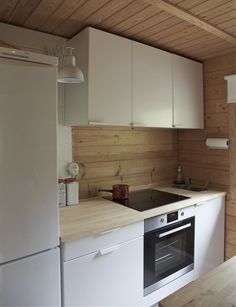 Wooden summer cottage in Cottage In The Woods, Cozy Cottage, Knoxhult Ikea, Bed Ikea, Cute Small Houses, Small Home Offices, Kitchen Time, Mini Kitchen, Traditional Bedroom Decor
