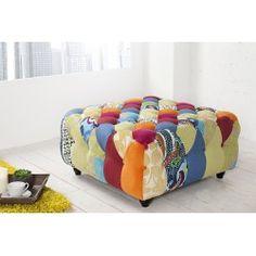 Tabouret Patchwork coloré Pouf Design, Men Design, Chesterfield, Oriental, Ottoman, Relax, Chair, Polyester, Scrappy Quilts