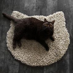 Fluffy cafe latte carpet  cat head shape by purrfidious on Etsy, €21.00