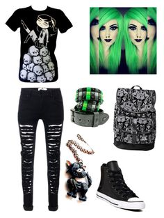 """""""Black and Green Emo Style ✴💚"""" by andreiapipa13 ❤ liked on Polyvore featuring Converse and Disney"""