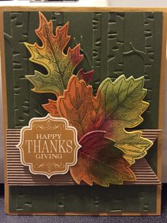 Thanksgiving card features fall-colored leaves upon an embossed background of birch trees. A2 size.