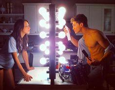 Troian Bellisario (Spencer Hastings) and Keegan Allen (Toby Cavanaugh) behind the scenes of Pretty Litte Liars. #PLL