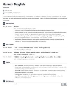 Waiter / Waitress CV: Example & Guide Simple Resume Examples, Professional Resume Examples, Cv Examples, Visual Resume, Sales Resume, Job Search Tips, References Page, Resume Template Free, Team Player