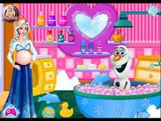 Embarazada Elsa Y Olaf Baño de Espuma - Juegos de Frozen