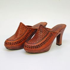 70's Wood Platform Heels  Woven Leather by CenterStageVintage, $46.00