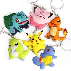 Pokemon Squirtle Rubber Keychain 2 Inches Double Sided Metal Ring