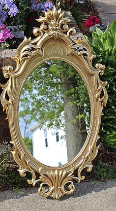 Gorgeous Mirror, Syroco Gold, Beautiful Ornate Mirrors Match with Other Pieces Of Syroco or All Mirror to Stand on It's Own, Wow Wall Mirror by QUEENIESECLECTIC on Etsy