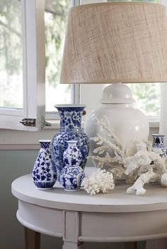 Lamp, coral, blue + white