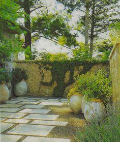 serene courtyard urn pots