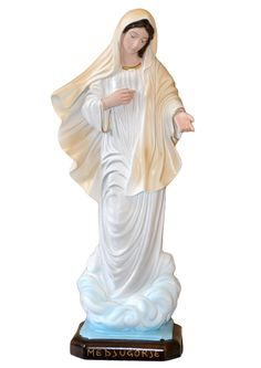 Our Lady of Medjugorje statue height 40 cm. in empty resin, hand painted with acrylic colors and trim with oil colors. Made in Italy
