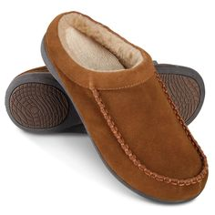 The Gentleman's Plantar Fasciitis Shearling Slippers - Hammacher Schlemmer  These men's slippers help combat the painful effects of plantar fasciitis.