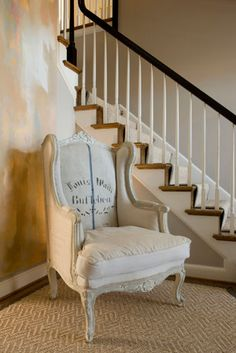 Stairs--contrast of dark colored steps with white trim. Wingback Chair, Armchair, Patterned Furniture, Joy Of Cooking, Stairway To Heaven, Living Room Remodel, White Trim, Stairways, Contrast