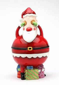 Appletree Design No Peeking Santa Cookie Jar Ceramic Canister Christmas Gifts